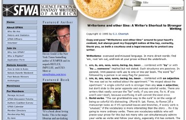 http://www.sfwa.org/2005/01/writerisms-and-other-sins-a-writers-shortcut-to-stronger-writing/
