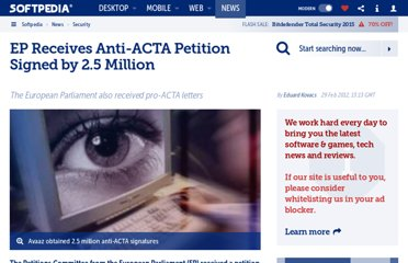 http://news.softpedia.com/news/EP-Receives-Anti-ACTA-Petition-Signed-by-2-5-Million-255769.shtml