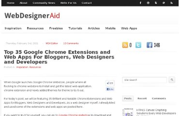 http://webdesigneraid.com/top-35-google-chrome-extensions-and-web-apps-for-bloggers-web-designers-and-developers/