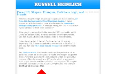 http://www.russellheimlich.com/blog/pure-css-shapes-triangles-delicious-logo-and-hearts/
