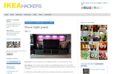 http://www.ikeahackers.net/2011/02/mood-light-panel.html