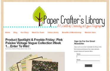 http://blog.papercrafterslibrary.com/product-spotlight-freebie-friday-pink-paislee-vintage-vogue-collection-week-1-enter-to-win/