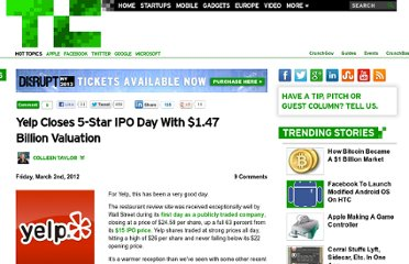 http://techcrunch.com/2012/03/02/yelp-closes-5-star-ipo-day-with-1-47-billion-valuation/