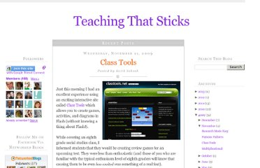 http://teachingthatsticks.blogspot.com/2009/11/class-tools.html