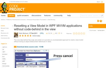 http://www.codeproject.com/Articles/158591/Resetting-a-View-Model-in-WPF-MVVM-applications-wi