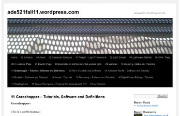http://521fall10.wordpress.com/grasshopper-tutorials-and-software/