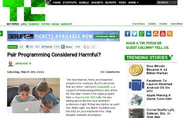 http://techcrunch.com/2012/03/03/pair-programming-considered-harmful/