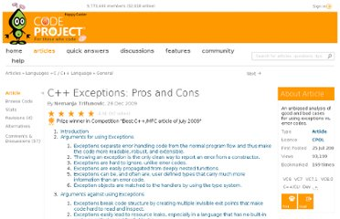 http://www.codeproject.com/Articles/38449/C-Exceptions-Pros-and-Cons