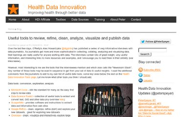 http://www.datadevelopment.org/content/useful-tools-review-refine-clean-analyze-visualize-and-publish-data