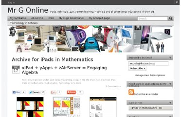 http://mgleeson.edublogs.org/category/ipad/ipads-in-mathematics/