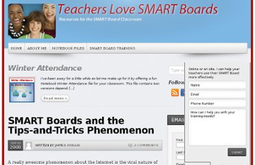 http://teacherslovesmartboards.com/2008/09/smart-boards-and-the-tips-and-tricks-phenomenon.html/