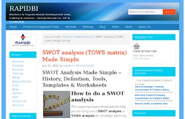 http://rapidbi.com/swotanalysis/#IntroductiontoSWOT