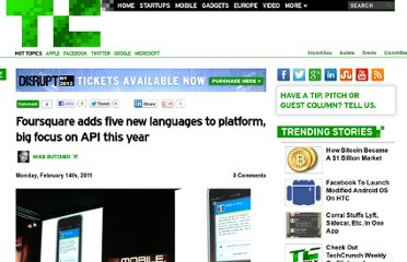 http://techcrunch.com/2011/02/14/foursquare-adds-five-new-languages-to-platform-big-focus-on-api-this-year/