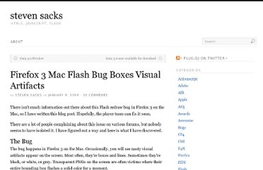 http://www.stevensacks.net/2009/01/09/firefox-3-mac-flash-bug-boxes-visual-artifacts/