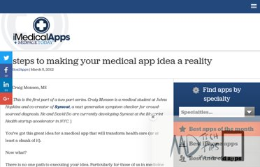 http://www.imedicalapps.com/2012/03/steps-idea-medical-app-reality/