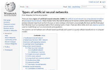 http://en.wikipedia.org/wiki/Types_of_artificial_neural_networks