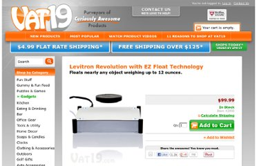 http://www.vat19.com/dvds/levitron-revolution-floats-levitates-objects.cfm