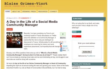 http://blaisegv.com/community-manager-careers/a-day-in-the-life-of-an-online-community-manager-or-head-of-community/