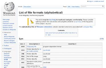 http://en.wikipedia.org/wiki/List_of_file_formats_(alphabetical)