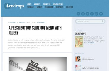 http://tympanus.net/codrops/2010/03/09/a-fresh-bottom-slide-out-menu-with-jquery/