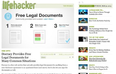http://lifehacker.com/5890675/docracy-provides-free-legal-documents-for-many-common-situations