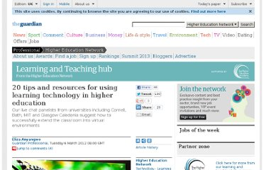 http://www.guardian.co.uk/higher-education-network/blog/2012/mar/06/using-technology-in-university-teaching