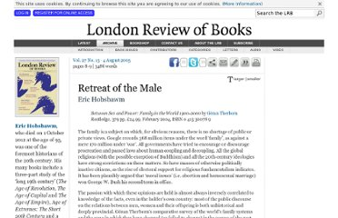http://www.lrb.co.uk/v27/n15/eric-hobsbawm/retreat-of-the-male