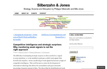 http://silberzahnjones.com/2012/03/05/competitive-intelligence-and-strategic-surprises-why-monitoring-weak-signals-is-not-the-right-approach/