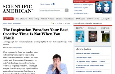 http://www.scientificamerican.com/article.cfm?id=your-best-creative-time-not-when-you-think