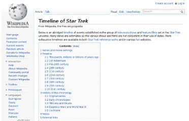 http://en.wikipedia.org/wiki/Timeline_of_Star_Trek