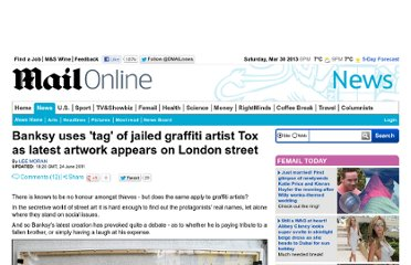 http://www.dailymail.co.uk/news/article-2007860/Banksy-uses-tag-jailed-graffiti-artist-Tox--Daniel-Halpin--latest-artwork-appears-London-street.html