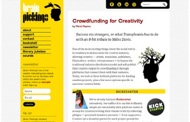 http://www.brainpickings.org/index.php/2010/03/10/crowdfunding-for-creativity/