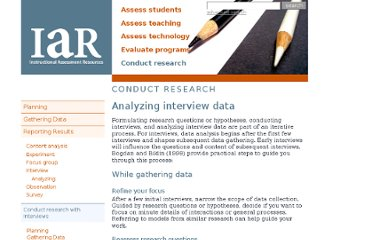 http://www.utexas.edu/academic/ctl/assessment/iar/research/report/interview-analyze.php