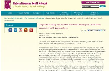 http://nwhn.org/corporate-funding-and-conflict-interest-among-us-non-profit-womens-health-organizations