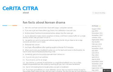 http://ceritacitracerita.wordpress.com/2011/01/11/fun-facts-about-korean-drama/