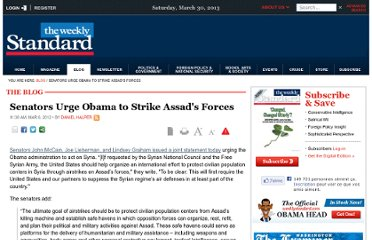 http://www.weeklystandard.com/blogs/senators-urge-obama-strike-assads-forces_633227.html