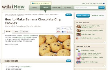 http://www.wikihow.com/Make-Banana-Chocolate-Chip-Cookies