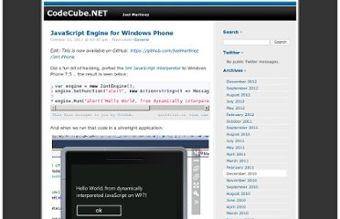 http://codecube.net/2011/10/javascript-engine-for-windows-phone/