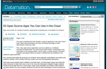 http://www.datamation.com/osrc/article.php/3914336/50-Open-Source-Apps-You-Can-Use-in-the-Cloud.htm