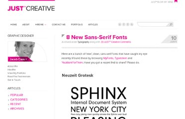 http://justcreative.com/2011/06/10/8-new-sans-serif-fonts/