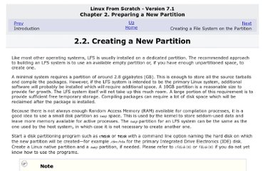 http://www.linuxfromscratch.org/lfs/view/7.1/chapter02/creatingpartition.html