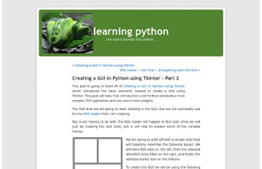 http://www.learningpython.com/2006/02/19/creating-a-gui-in-python-using-tkinter-part-2/
