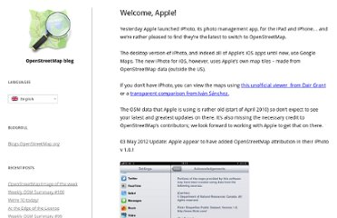 http://blog.osmfoundation.org/2012/03/08/welcome-apple/