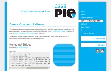 http://css3pie.com/demos/gradient-patterns/