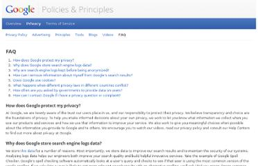 http://www.google.com/policies/privacy/faq/