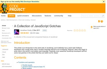 http://www.codeproject.com/Articles/182416/A-Collection-of-JavaScript-Gotchas