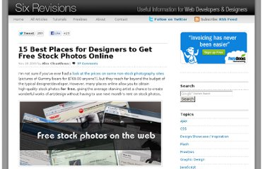 http://sixrevisions.com/resources/15-best-places-for-designers-to-get-free-stock-photos-online/