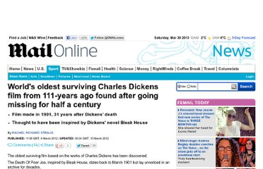 http://www.dailymail.co.uk/news/article-2112542/Charles-Dickens-film-111-years-ago-going-missing-half-century.html