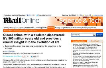 http://www.dailymail.co.uk/sciencetech/article-2112532/Coronacollina-acula-Oldest-animal-skeleton-discovered.html