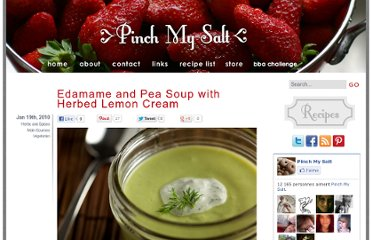 http://pinchmysalt.com/edamame-and-pea-soup-with-herbed-lemon-cream/